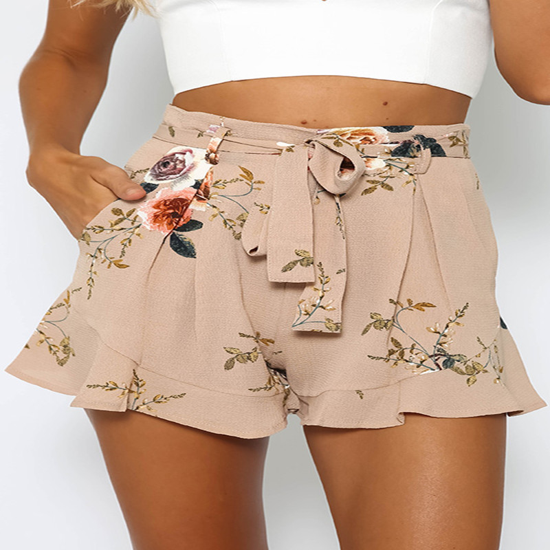 Summer hot new Italian Bohemian style fashion personality Slim loose printed casual belt ladies shorts