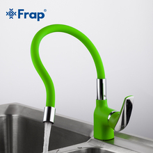 Frap Green Silica Gel Nose Any Direction Kitchen Faucet Cold and Hot Water Mixer Torneira Cozinha Crane F4453-05