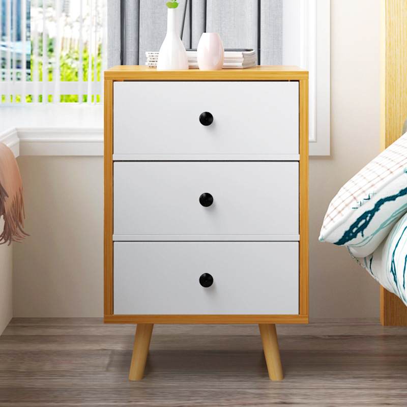European Eco-friendly Wooden Nightstand Simple Modern Storage Cabinet with Drawer Multi-function Bedside Bedroom Furniture zen s bamboo nightstand miti function storage drawer cabinet bed side table living bedroom funiture