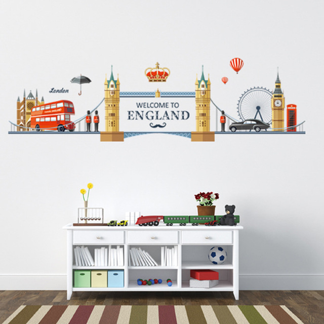 United Kingdom London Street Landscape Wall Stickers Living Room Tv Backdrop Study Uk Ben