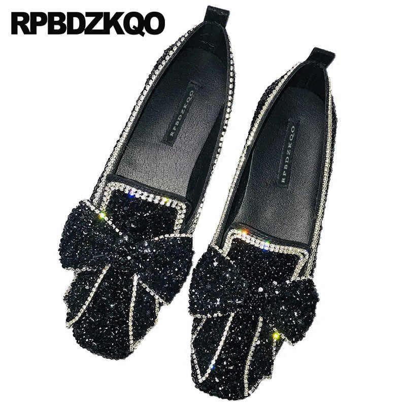 Handmade Chinese Bow Black Silver Crystal Rhinestone Diamond Wedding  Sparkling Women Flats Shoes With Little Cute 1490b1e2c1e7