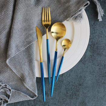 304 Stainless Steel Luxury Gold Cutlery Sets Dinnerware Set Vintage 24 Pieces Dinner Knives Forks Scoop Western Tableware Sets