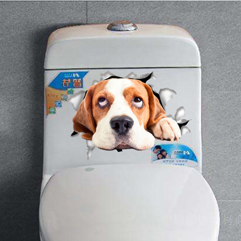 Vinyl waterproof 3D puppy smile Wall Sticker Hole View Bathroom Toilet Living Home Decor Decal Poster Background Wall Stickers