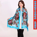 Blue Chinese Female Velvet Silk Beaded Shawls Vintage Handmade Embroidery Scarves Scarf Long Fringe Muffler Peony Pattern