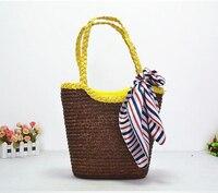 33X26 CM Exportação Espanha marca bordado saco de seda saco bolsa feminina bolsa de palha de trigo natural por handmade A2306