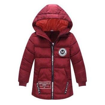 Kids Winter Jacket For Boy Warm Hooded Down jackets For Boys Jacket Teens Boy Zipper Coat Children Winter Clothing Boys Coat 3