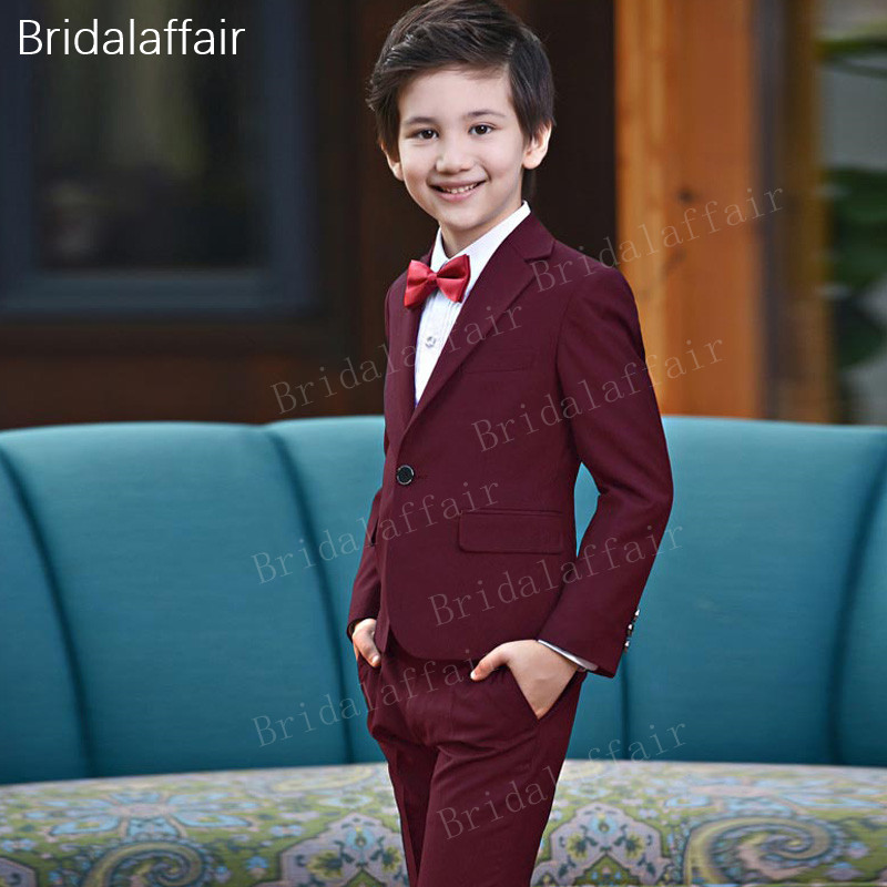 c154b1ab9 KUSON Black-red Boys Suits For Wedding England Style Children Prom Party Tuxedos  kids 3pcs Suit Set Tailcoat ...