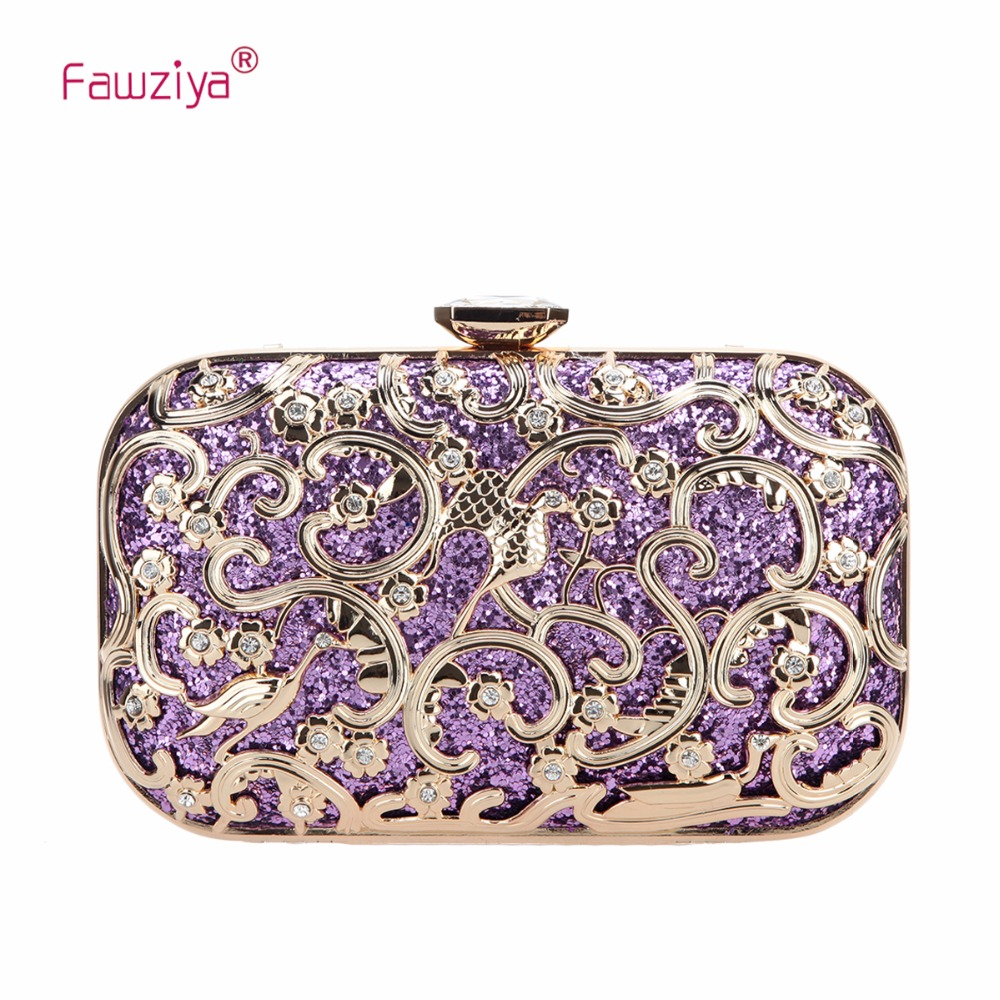 Fawziya Bird Glitter Hard Shell Clutch Purse Fashion Clutches For Women Evening Bag