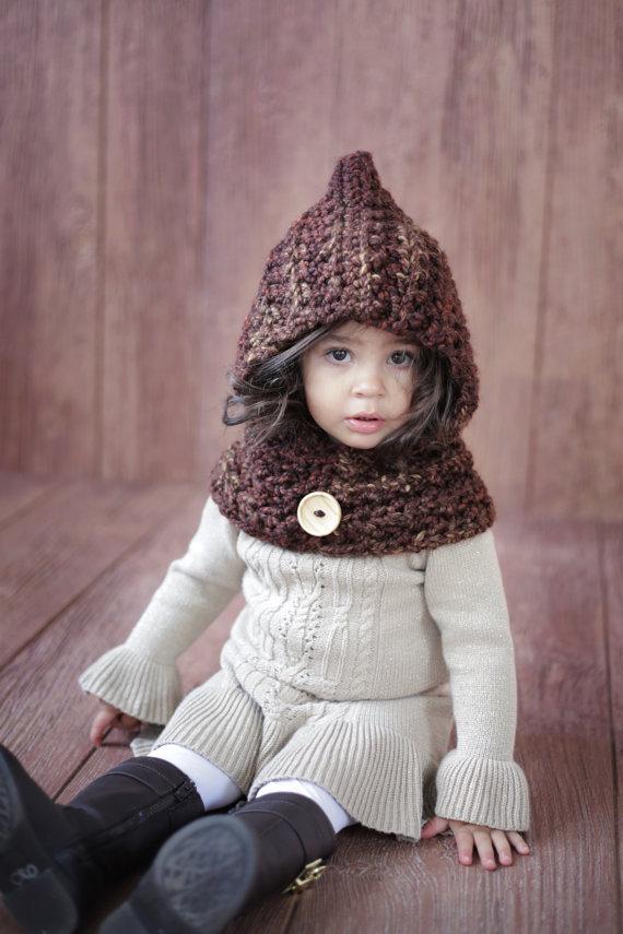 Kinder Hut-mischfarbe Hoodie-jungen oder mädchen Gugel-Tier hut-Kapuzenschal Häkeln Kapuzenpullover schal-Chunky Häkeln Hut