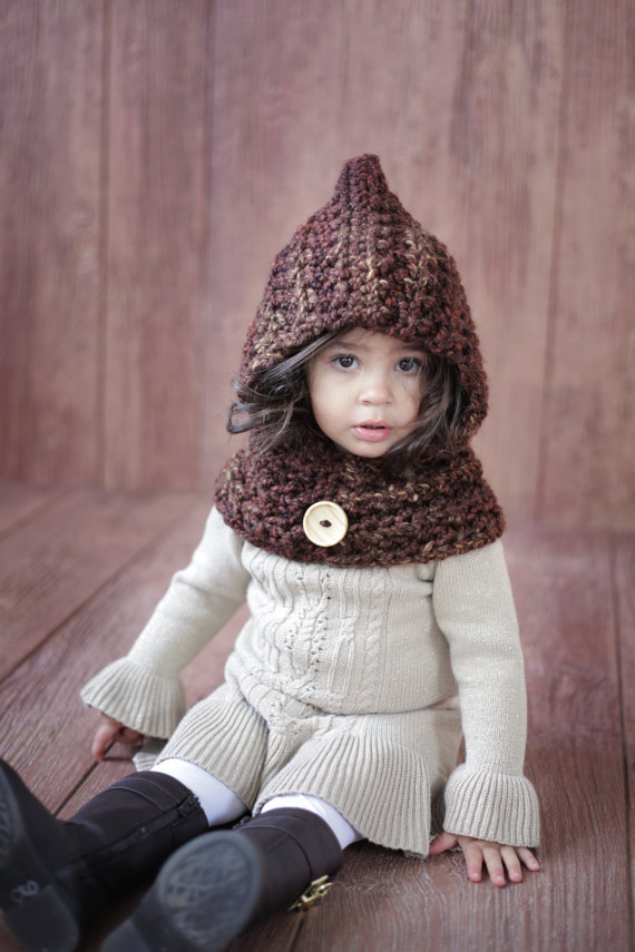 Childrens Hat Mixed Color Hoodie Boys Or Girls Cowl Animal Hat