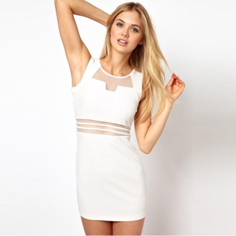 Dresses Fashion Hollow Out Mini New Sexy Soild Dress 2019 Tank Bodycon Women O Neck Sleeveless White Dresses Club Black Sheath