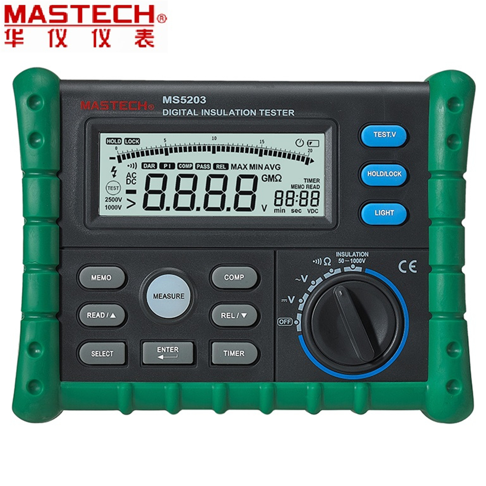 MASTECH MS5203 High Precision Megger Digital Insulation Resistance Meter Tester Multimeter 10G 1000V Medidor De Aterramento hyelec ms5203 digital megger 1000v insulation resistance tester meter dc ac voltage resistance insulation tester