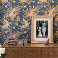 European Style 3D Embossed Luxury Wallpaper Environmental Protection Non-Woven Red-Crowned Crane Photo Wallpaper Papel De Parede