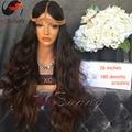 XCSUNNY 180 Densidad # 1b/4 Ombre Glueless de la Peluca Del Pelo Humano de Color Marrón Oscuro Pelo Virginal brasileño Onda del Cuerpo de la Peluca Del Frente Del Cordón Peluca de Cabello Humano