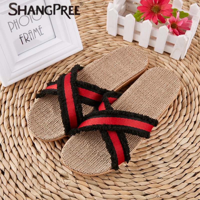 купить SHANGPREE 2018 Fashion Flax Home Slippers Indoor Floor Lovers Shoes Cross Belt Silent Sweat Slippers For Summer Women Sandals по цене 504.54 рублей