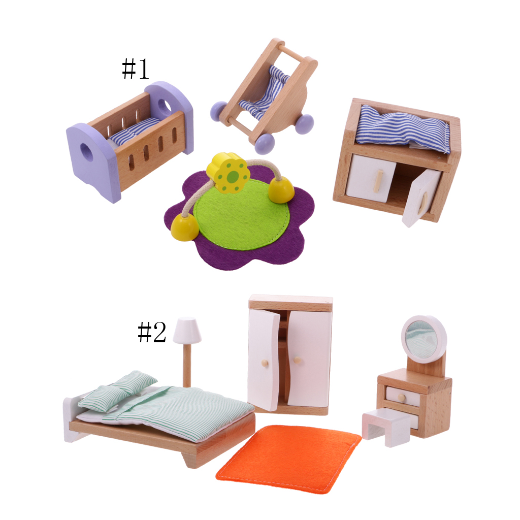 Doll House Miniature Bedroom Wooden Furniture Sets Mini Dollhouse Furniture Pretend Toys Dresser