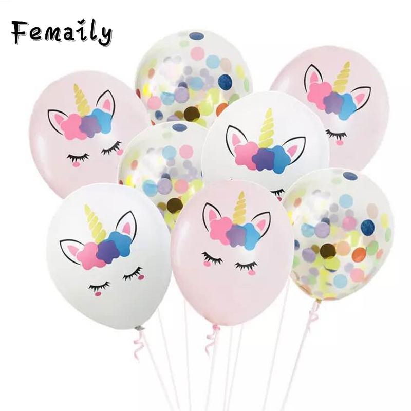 10pcs Unicorn Party Balloons Birthday Baloon Decoration Latex Confetti Balloon