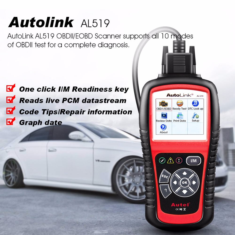 Autel AutoLink AL519 Auto Diagnostic Tool Scanner Car Fault Code Reader OBD2 CAN Code Reader Scanner Upgrade version of MS509 цены онлайн