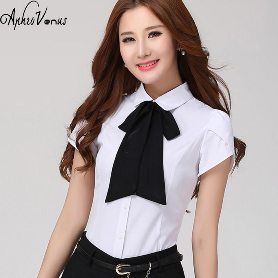 mujer de moda plus size bow tie women blouse short sleeve blusas