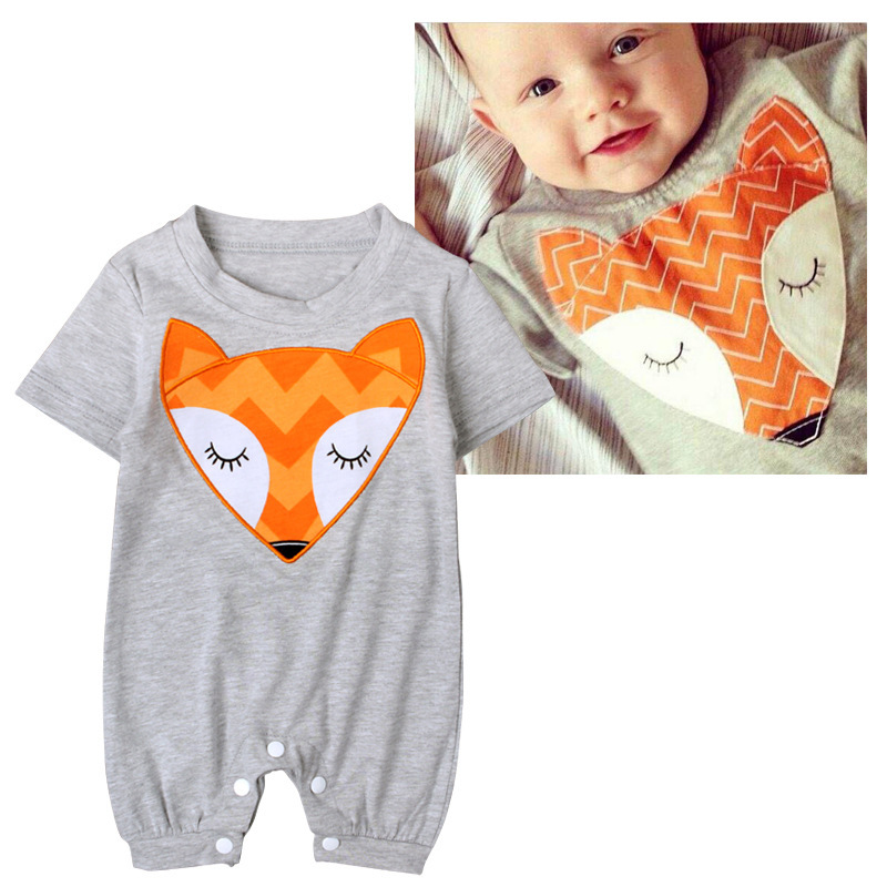 Summer Romper Baby Clothes Cute Fox Printed Cotton Breathable Ropa Bebe Infantil Menina Newborn Girl Toddler Rompers Bebes