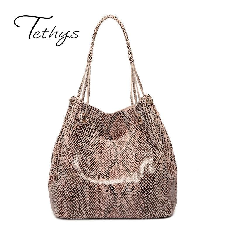 ФОТО Tethys Fashion Brand Design Women Handbag Genuine Leather Bag Ladies Fashion Animal Pattern Women Bags High Quality Girl Tote