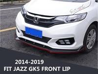 ABS Carbon Fiber Front Lip Splitters Bumper Aprons Cup Flaps Spoiler For HONDA FIT JAZZ GK5 2014 2015 2016 2017/2018 2019 BY EMS