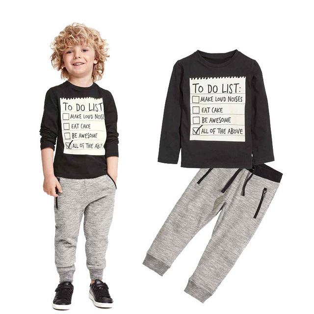 Crianças Roupas de Bebê Menino Roupas de Inverno e Outono de Algodão Longo t-shirt de manga comprida + Calças Compridas Casual 2 pc Terno Crianças Roupas conjuntos
