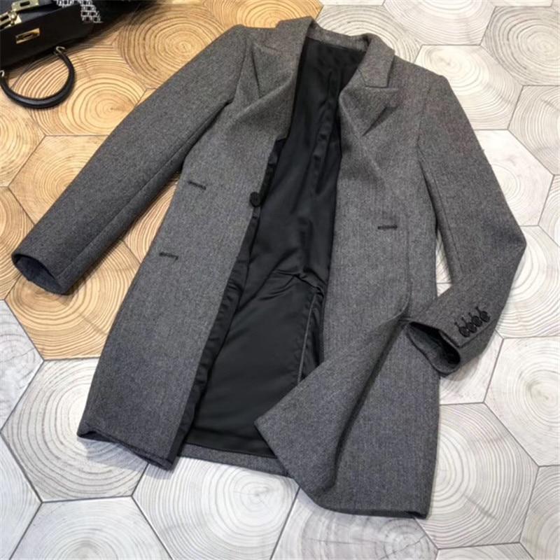 Le Femmes down Longues Avec Collar Manteau Nouvelles Droite Pour De Turn Qualité Dame Haute Veste Bouton Manches 2018 qxw1nYzE