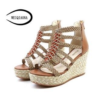 WEIQIAONA New Bohemia Sandals Women shoes Sexy hemp rope rattan weaving Wedges heels Platform Genuine leather High Heel sandals