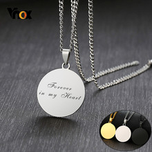 Vnox Free Personalized Round ID Necklaces for Women Men Custom Engrave Forever in My Heart Love Promise His and Her Gifts(China)