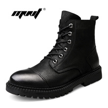 цена Genuine Leather Men Boots Plush Fur Warm Snow Boots Shoes Men Vintage Classic Ankle Boots Rubber Non Slip Outdoor Winter Shoes онлайн в 2017 году