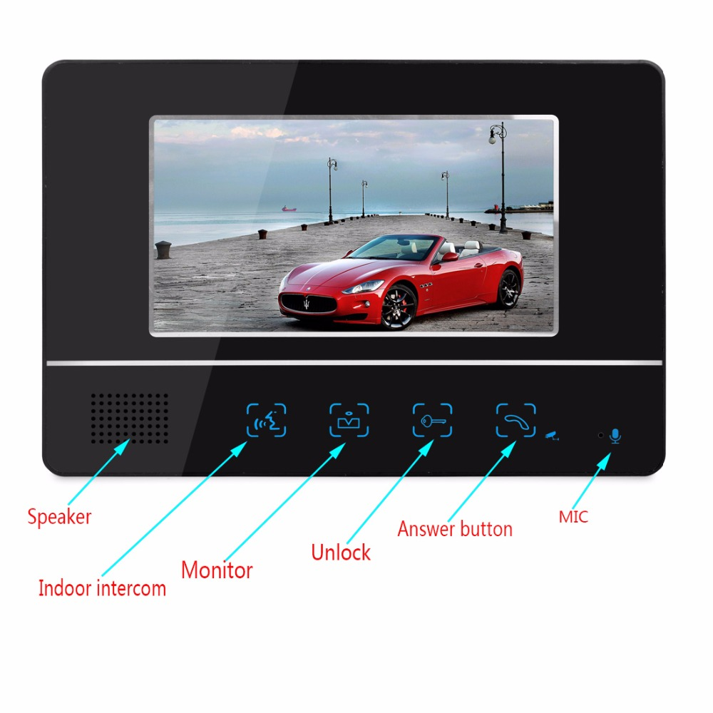 SmartYIBA FREE SHIP 7`` video intercom video doorphone speakerphone intercom system black monitor outdoor with IR Camera