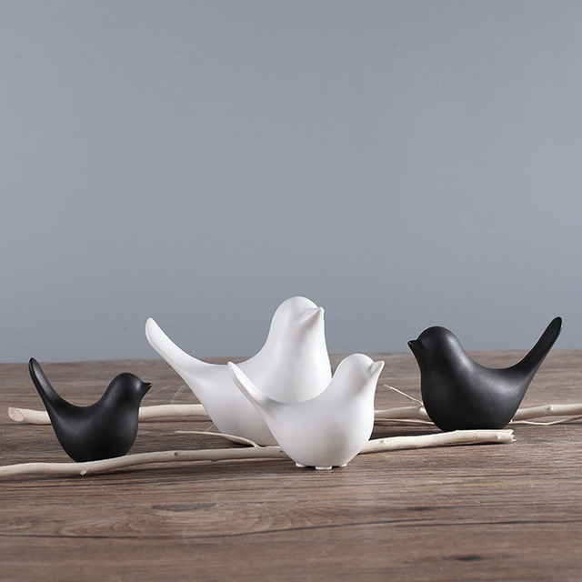 Ceramic Matte Abstract Ornament Bird Figure Decoration
