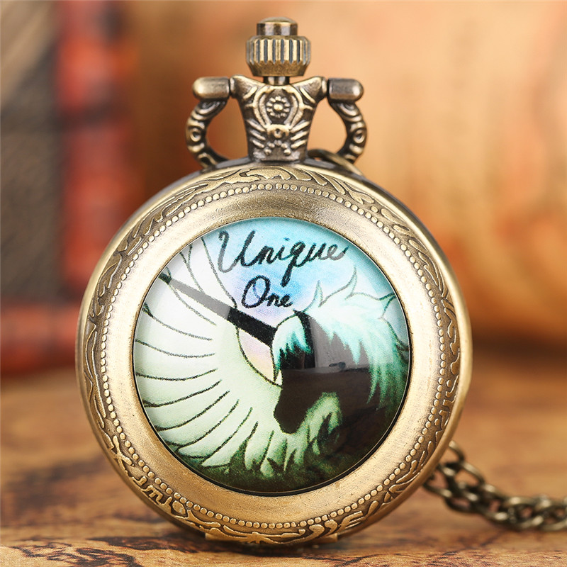 Fashion Unicorn Pocket Watch Chain Pendant Men Cool Bronze  Women Vintage Quartz Copper Causal Children Necklace Clock Gifts mingen fashion paris scene bronze men quartz pocket watch chain souvenir gift