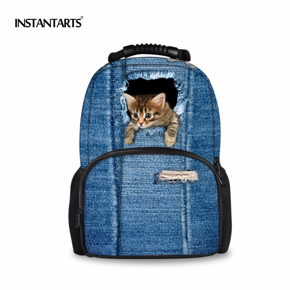 INSTANTARTS Women Felt Backpacks Cute Animal Cat Backpack for Teenagers Girls 3D Blue Denim Printing Bagpack