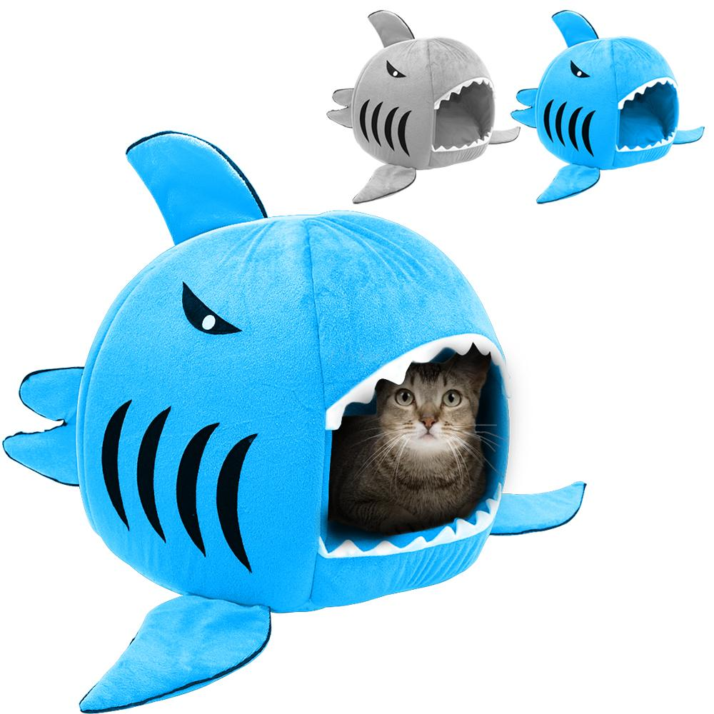 Cute Foldable Shark Dog Cat Bed Pet Winter Warm House Sofa Puppy Beds kennel Pet Sleeping Bag For Small Dogs Chihuahua Teddy