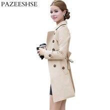 2016 New Autumn Winter Women Coat Slim Solid Female Coat Full Sleeve Trench Coats Fashion Temperamental Belt Women Windbreaker