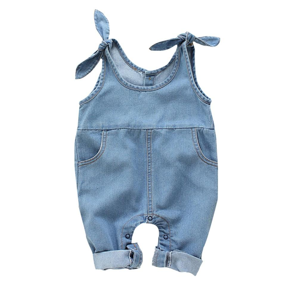 Baby Girls Suspender Pants Children Denim Solid Pattern Sleeveless Pants Overalls Trousers 4M-2T