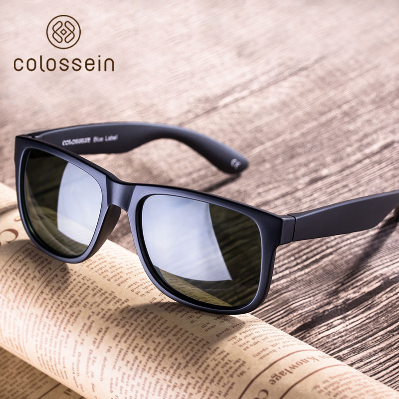 COLOSSEIN Classic Solbriller Women Polarized Sun Glasses Black Square Blue Frame Menn Voksen Eyewear Driving Fishing UV400