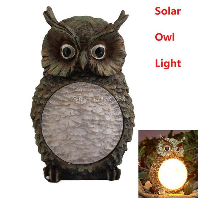 free shipping new solar owl light garden yard decor bird outdoor light statue for kids christmas - Outdoor Owl Christmas Decorations