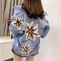 2019 Pearl Beading Crop Sequin Denim Jackets For Women Casual Jeans Bomber Jacket Long Sleeve Denim Coat Korean Outerwear Femme