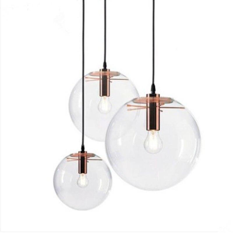Nordic Pendant Lights Globe Lamp Glass Ball Pendant Lamp Lustre Suspension Kitchen Light Fixture E27 Home Lighting