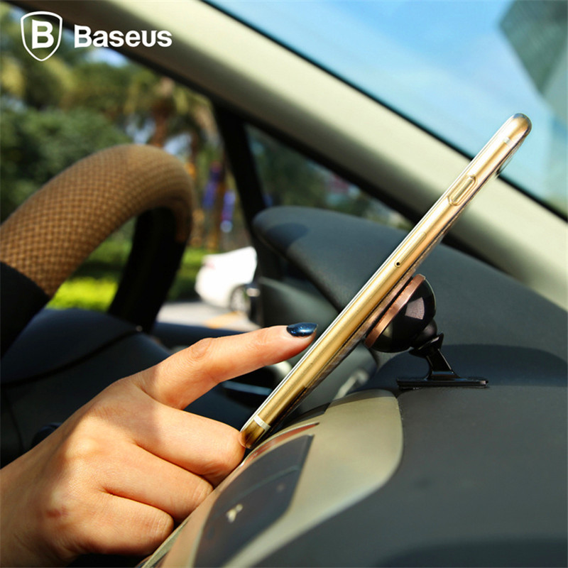 BASEUS מגנטי 360 סיבוב הטלפון הנייד מחזיק רכב Stand Pro אוניברסלי עבור iPhone 6Plus 5C 4 SE עבור Samsung עבור גלקסי S7 הקצה