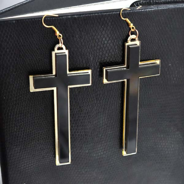 Punk Mode Vintage Grand Long Noir Acrylique Croix Drop Boucles - Bijoux fantaisie - Photo 3