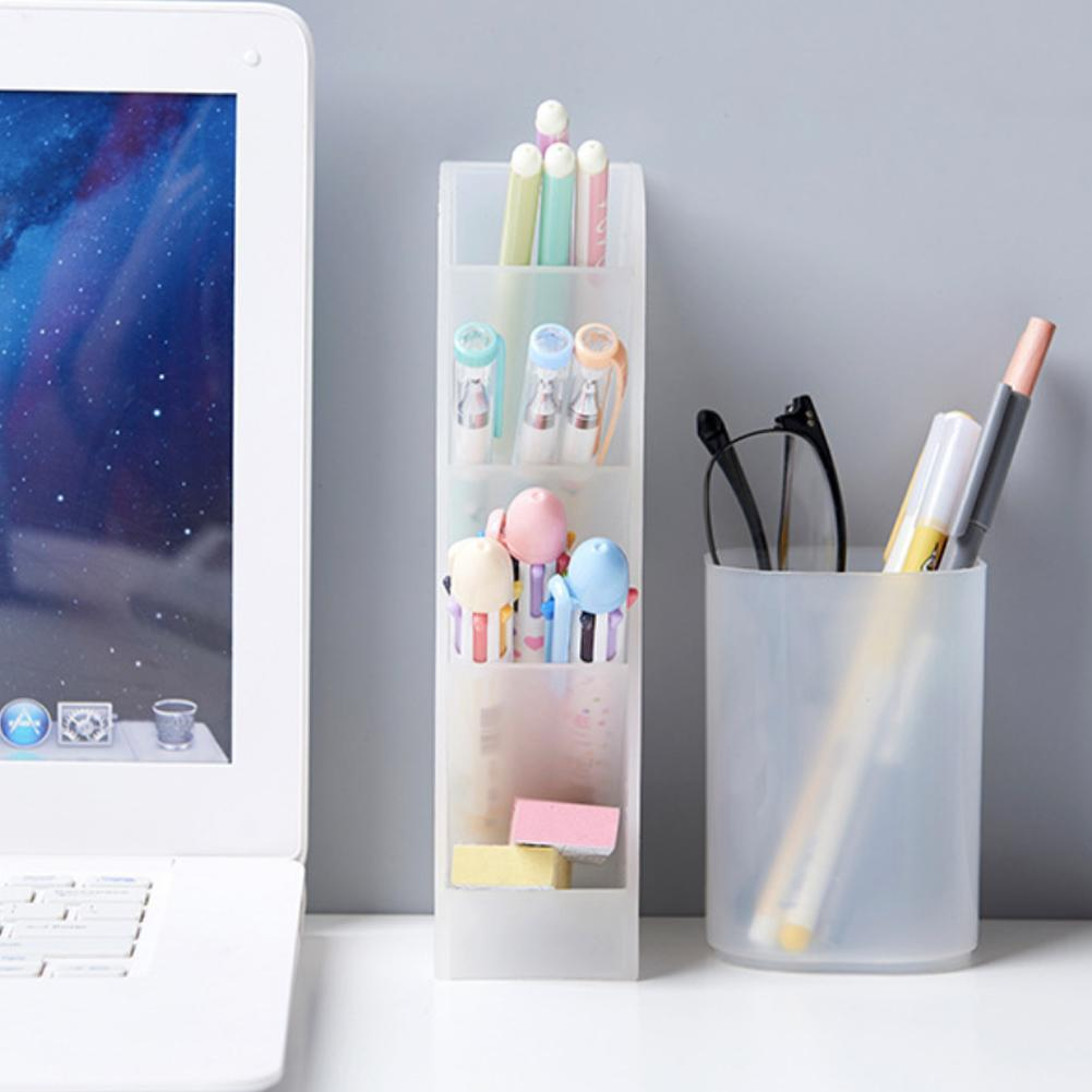 1PC Multi-function 4 Grid Desktop Pen Holder Office School Storage Case Clear White Black Plastic Box Desk Pen Pencil Organizer