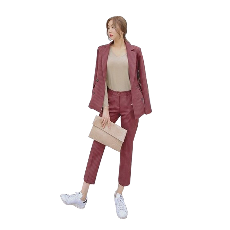 2018 Spring And Autumn New Korean Slim Professional Striped Small Suit Female Casual Double-breasted Nine / Pants Two Suits