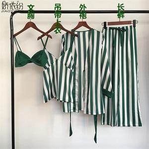 Image 3 - Pyjama set für frauen luxus satin nachtwäsche streifen komfortable hause tragen 4 stück pyjamas weste + bh + mantel + hosen seide nachtwäsche