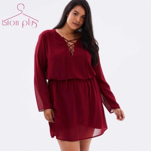 V-Neck Cross Belt Wine Red Dresses Plus Size 2017 Autumn Adjustable Waist  Long Sleeve Dress Women Oversized 5XL 6XL 7XL dress cf4fd1d86d21