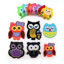1PcsMix Color Owl Embroidered  Iron On Patches Cloth Accessories New Arrival Popular Clothing Cartoon Appliques