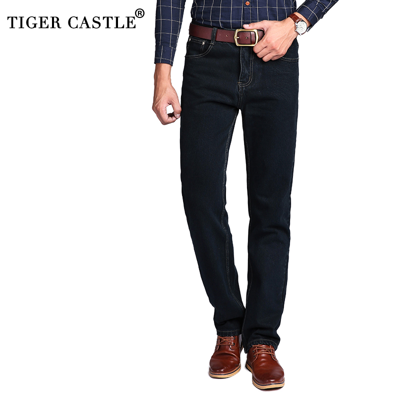 TIGER CASTLE High Waist 100% Cotton Mens Classic Jeans Baggy Brand Menn Straight Denim Bukser Vår Vinter Tykk Jeans Menn